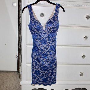 Blue & Tan Bodycon Lace Dress